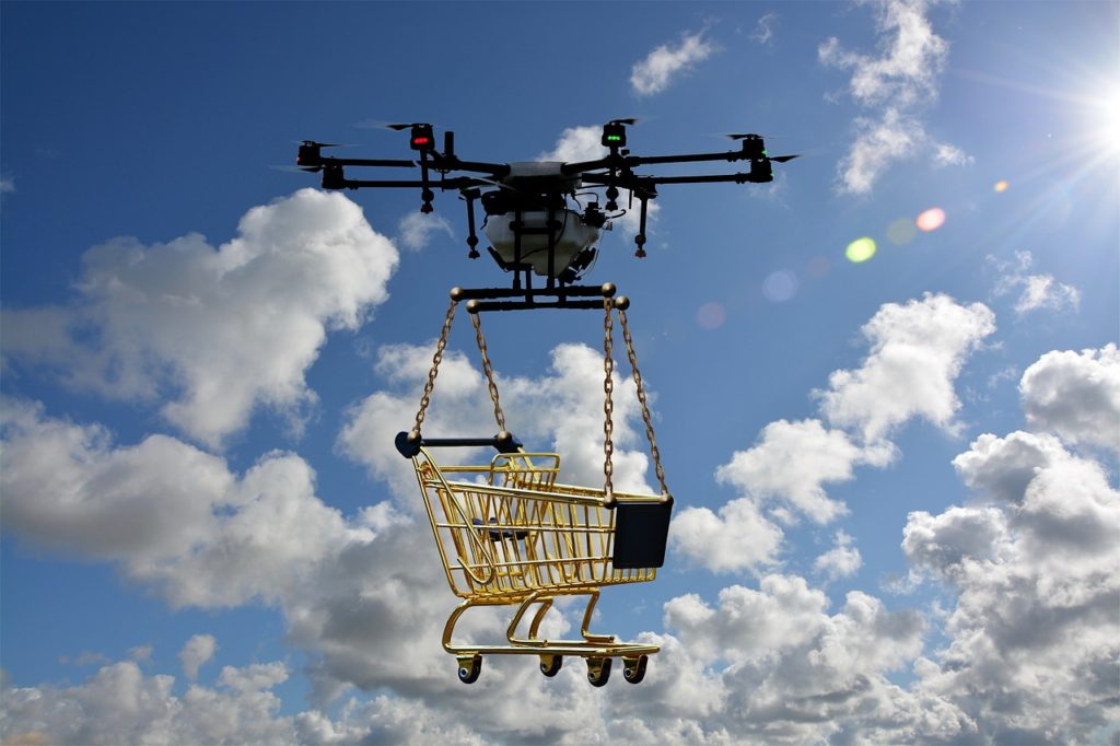 Fliegender Einkaufswagen