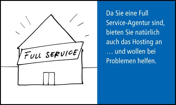 Full Service-Agentur will Hosting anbieten